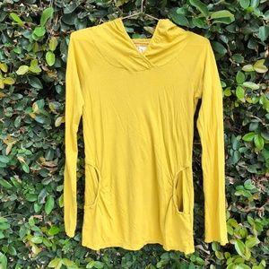 {Anthropologie} Mustard Yellow Hoodie Front Pocket